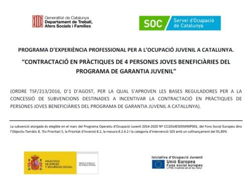 Programa d'experiència professional per a l'ocupació juvenil a Catalunya.